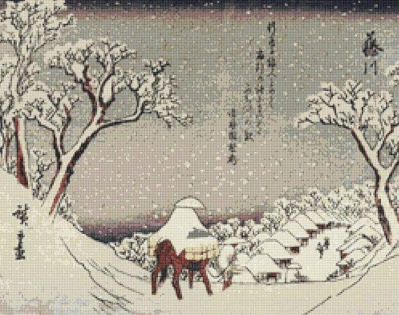 Japanese Village in Winter Counted Cross Stitch Pattern / Chart, Utagawa Hiroshige, Instant Digital Download  (ABA032)