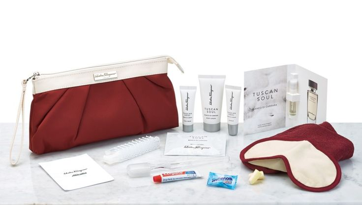 [Business Class] Alitalia Of course the Italian flagship carrier would feature a fashionable business class amenity kit. The Magnifica Class bags are designed by Salvatore Ferragamo—a dark red bag for men with a white zipper, and a dark red and white clutch for women with a white wrist strap. Both versions contain Ferragamo's Tuscan Soul skincare products, including face cream, lip balm, body lotion, and Bianco di Carrara fragrance. Men also get Tuscan Soul shaving gel.