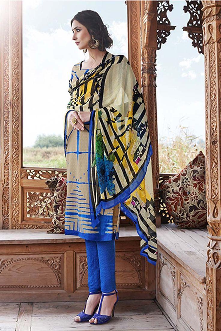 Cream Pashmina Churidar Suit