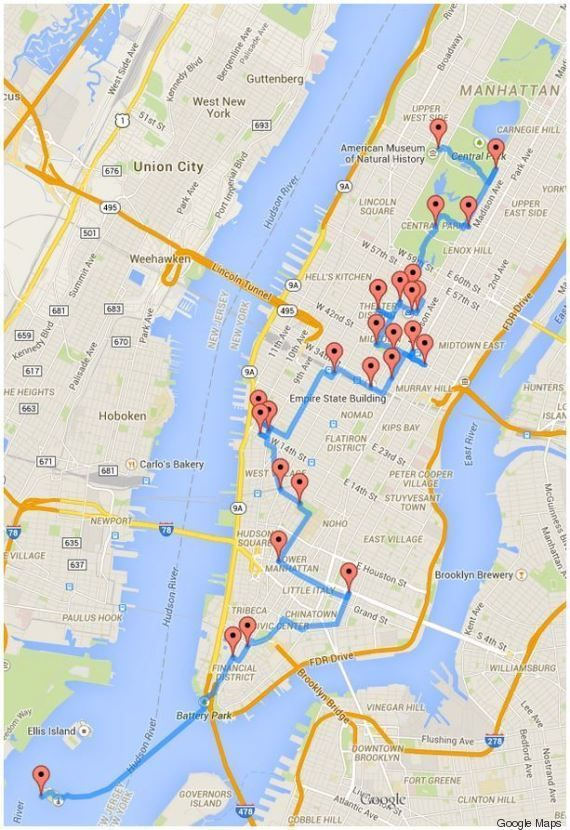 Le Parcours optimum pour visiter NYC calculé par un ordinateur