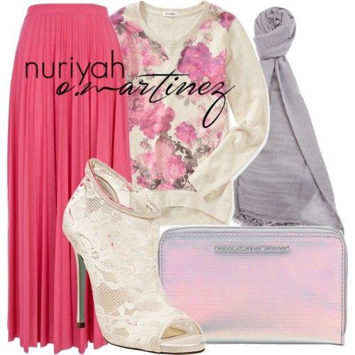 Hijab Outfit by Nuriyah O. Martinez      Aéropostale pink sweatshirt €16-aeropostale.com   River Island pleated skirt €20-riverisland.com   Betsey Johnson heel boots €45-betseyjohnson.com   MARC BY MARC JACOBS zip wallet €83-shopbop.com   PRIVATE 0204 cashmere scarve €325-farfetch.com