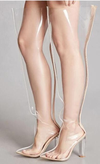 710f6b3e94 2018 Fashion PVC Transparent Point Toe Thigh High Boots Zipper Square Heel  Hot Sale Women High-Heeled Boots Nightclub Lady Boots in 2019   S H O E S    Thigh ...