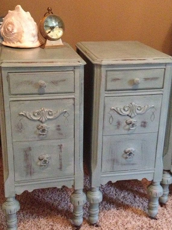 Antique Night Stands painted  Blue Beach Cottage French Country Shabby Victorian on Etsy, $449.00