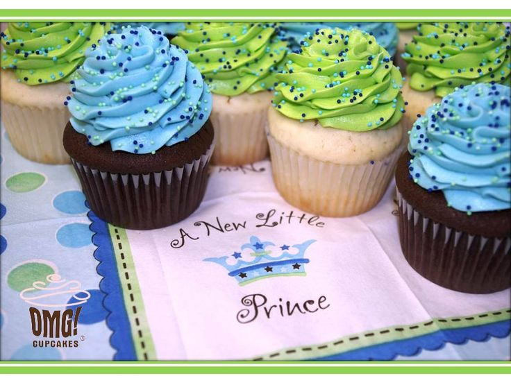 Blue and green baby shower cupcakes! Visit Omg! Cupcakes at www.facebook.com/OmgCupcakesGP