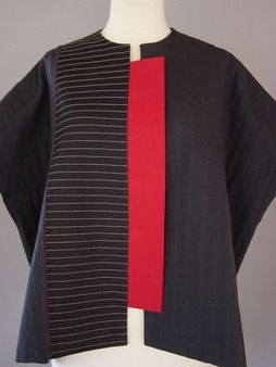 Wrapped Shoulder Vest in Black, PIn Striped and Pyramid Shape Juanita Girardin