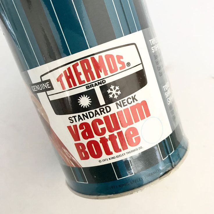 #Thermos 1971 #Vintage New in Packaging Teal Blue Black Modern #Thermos #picnic #1970s #70s #1971
