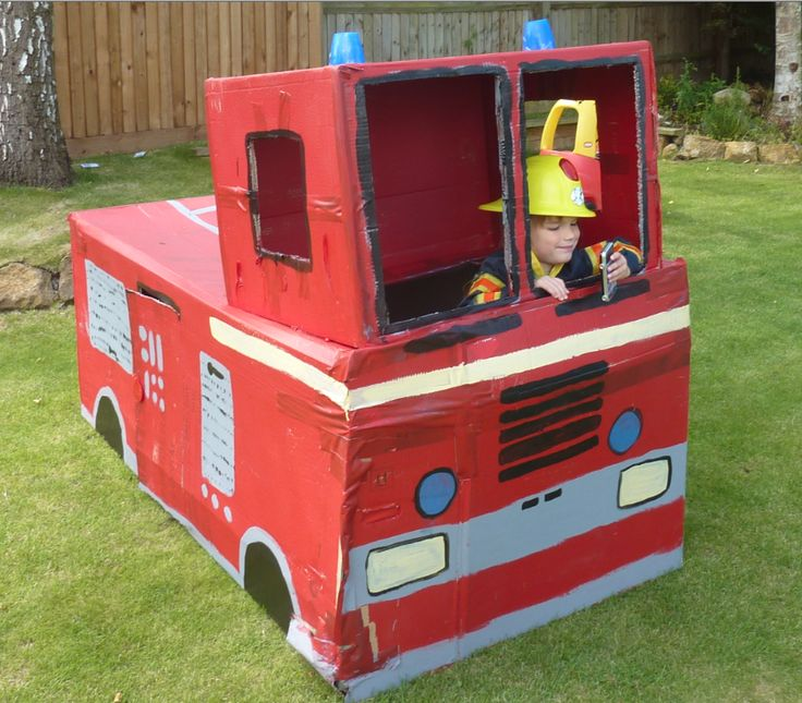 "Fire truck cardboard boxes. Or just one long ""fire tunnel"" (boxes taps together) for kids to crawl through"