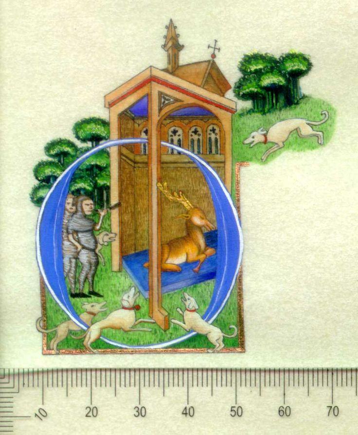 St Dennis, Gouache, Gold Leaf on Parchmentine