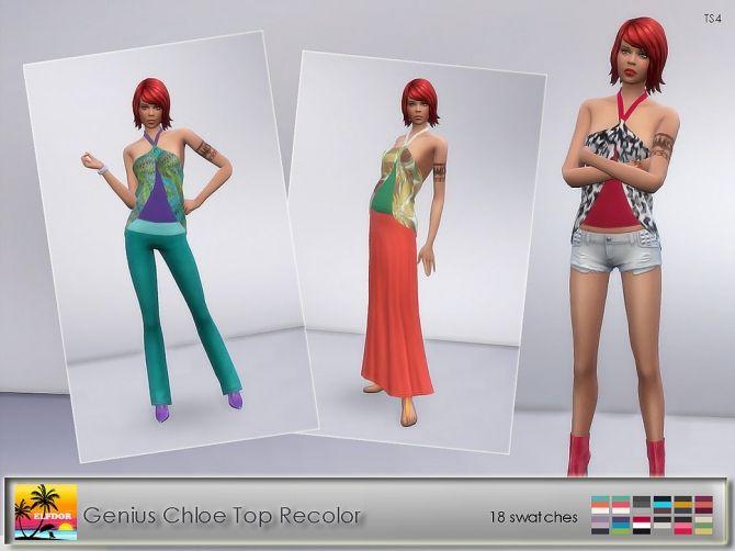 Genius Chloe Top Recolors at Elfdor Sims • Sims 4 Updates
