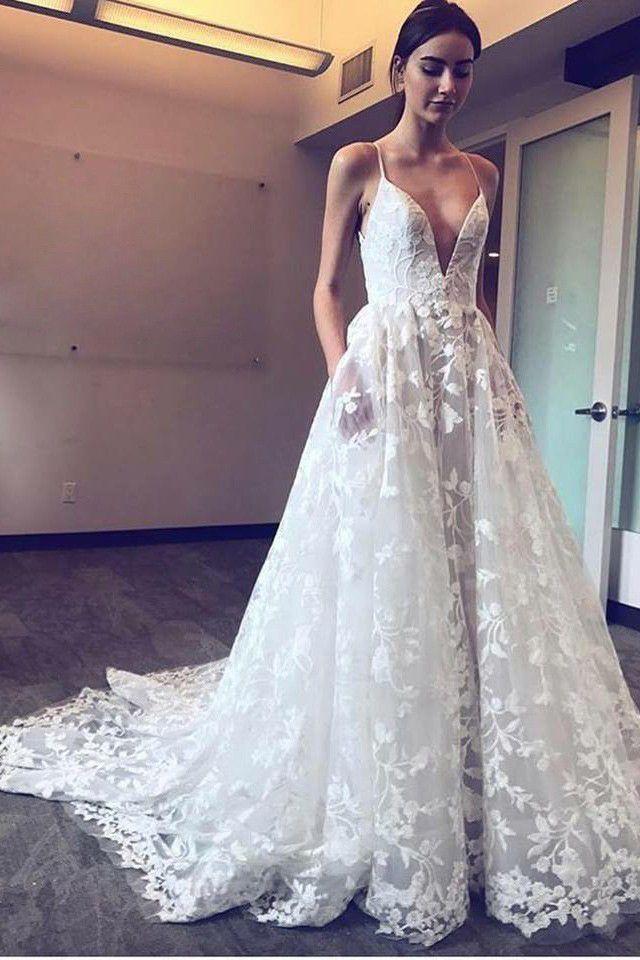 Modern A-Line Spaghetti Straps Plunge Neckline Lace Applique Wedding Dress OW307