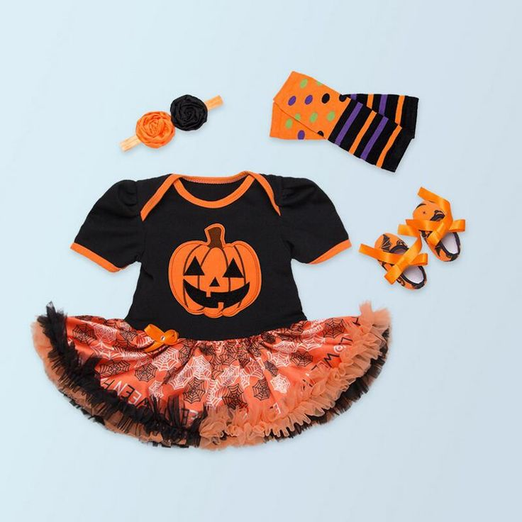 (28.79$)  Watch now  -  Newborn Clothing Set Baby Halloween Pumpkin Outfits   Baby Girl Clothes Romper Lace tutu Dress+Headband+Shoes Halloween Gifts