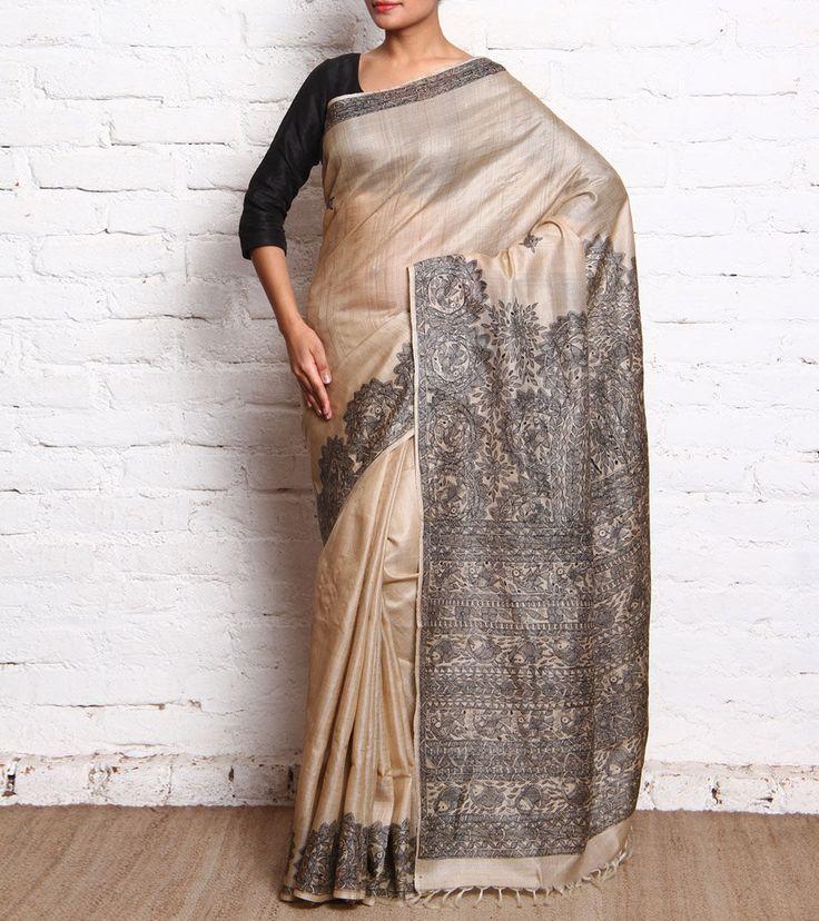 Beige & Black Madhubani Tussar Silk Saree..something i would love to see my mom in
