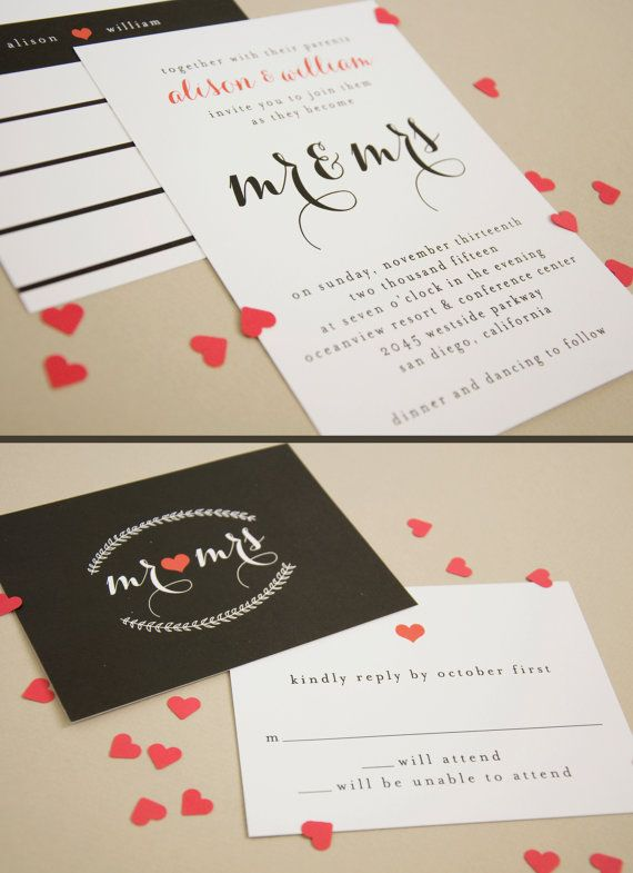 Elegant black and white wedding invitation set - simple and classy. Pretty!