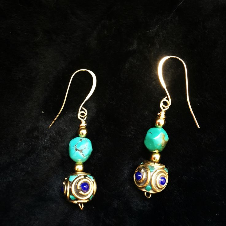 Nepalese earrings. Turquoise and lapis lazuli.  $20  thirteen13gypsymoons@yahoo.ca