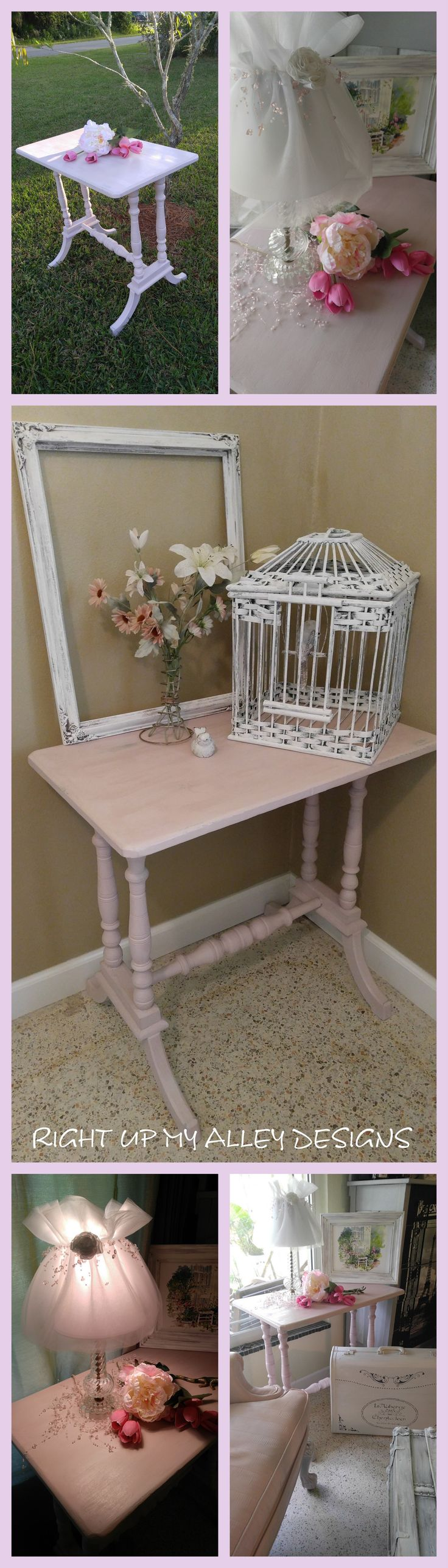 1940's dressed in Antoinette, Annie Sloan's chalk paint by RIGHT UP MY ALLEY DESIGNS. More pics here: https://www.etsy.com/listing/472150952/vintage-pink-tablesmall?ref=shop_home_active_2