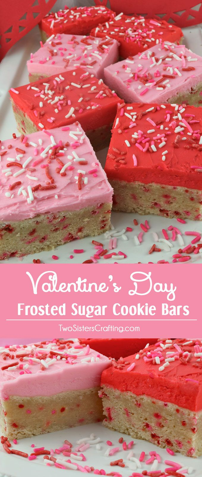 A unique take on a Frosted Sugar Cookie, these Valentine's Day Frosted Sugar Cookie Bars are delicious, easy to make and will be an instant family favorite Valentines Dessert. Make your family a Valentine's Day Treat that they are sure to love! Pin this yummy Valentine's Cookie Recipe now and follow us for more more great Valentine's Day Food ideas.