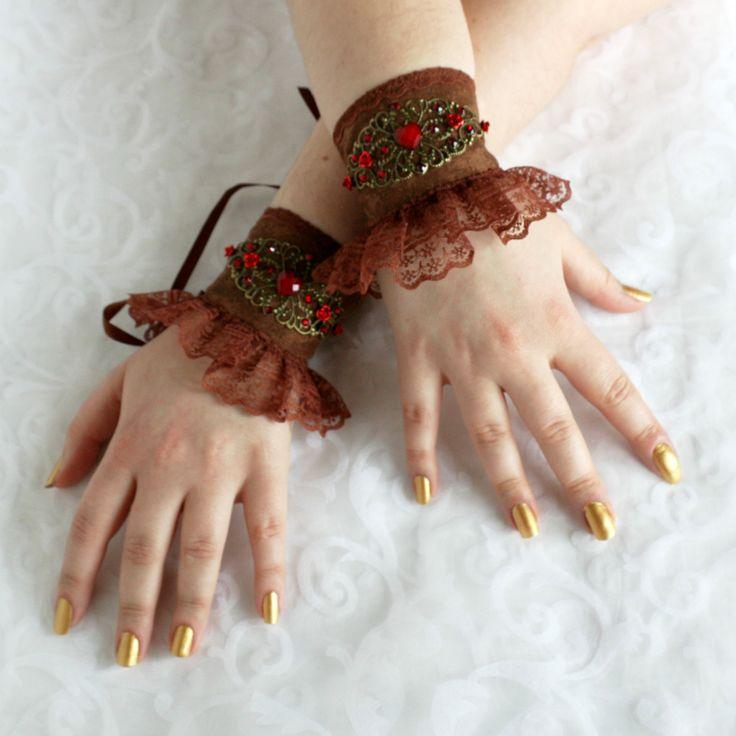 Brown-red wrist cuffs, bracelets, wrist wraps, steampunk, lolita, princess, romantic, fairy, fantasy by AlicesLittleRabbit on Etsy