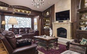 Обои стиль, диван, ковер, столик, лампа, гостиная, дерево, декор, кресло, камин, дизайн