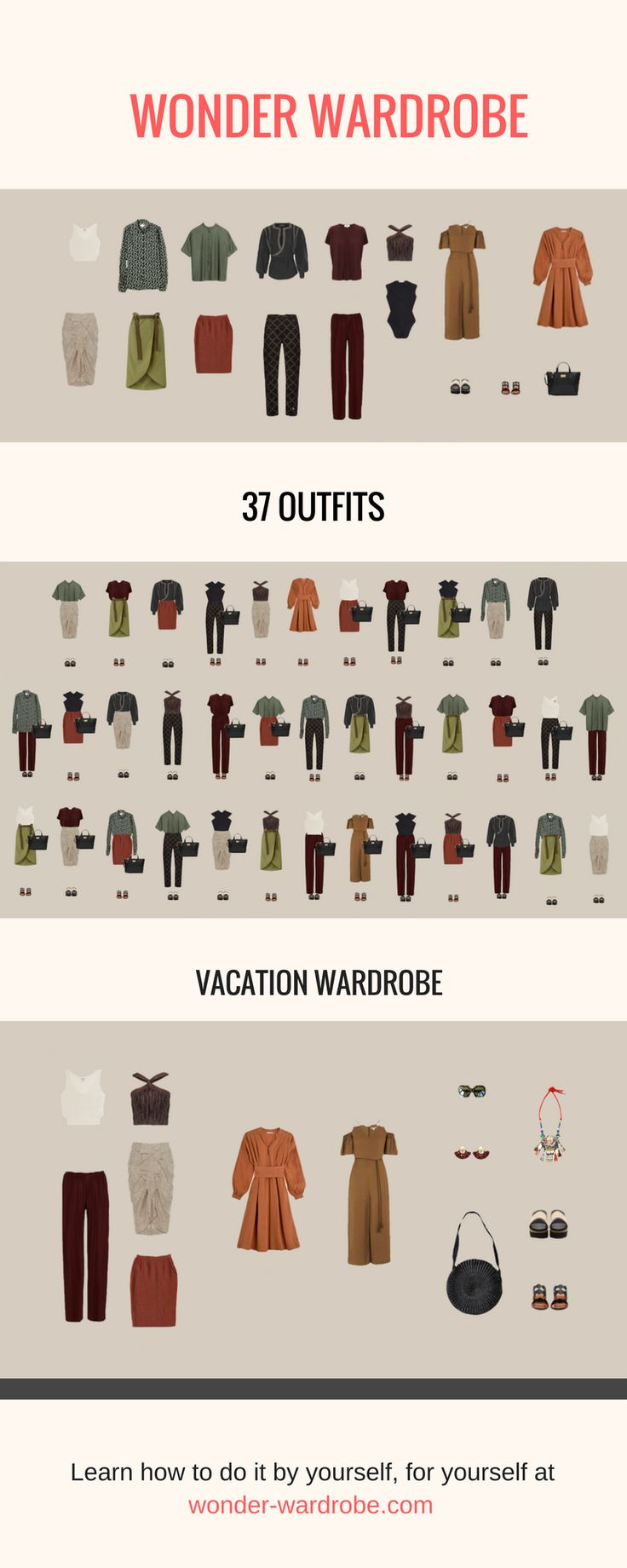 This capsule wardrobe was purposefully created to enhance the beauty of the hourglass body type. The 35/37 interchangeable outfits will accentuate and bring out all the best assets of your body for different purposes: office hours, meeting friends and even going on a summer vacation. All the brands used to compose this wardrobe are ethical and eco-friendly so you can feel beautiful while you save the planet.
