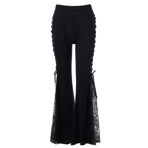 e27ac363835be Women Gothic Lace Flare Pants Lace Up Patchwork Slim Trousers Fashion  Bandage Side See Through Europe Style Casual Bellbottoms