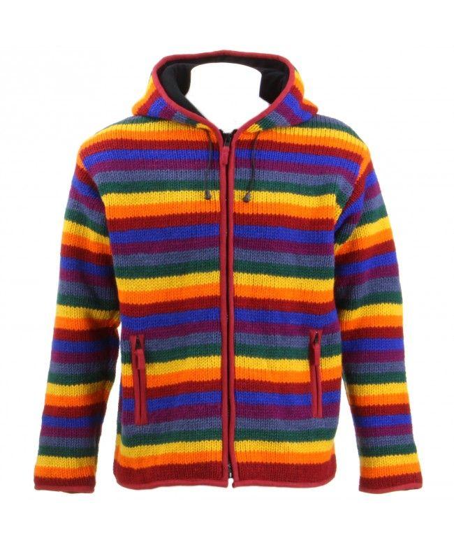 LOUDelephant Wool knit Stripe Fleece Lined Zip Hoodie - Rainbow