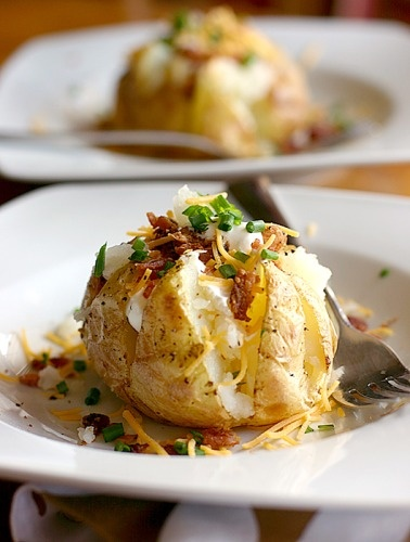 Jacket potatoes with bacon, cheese & sour cream - yum!