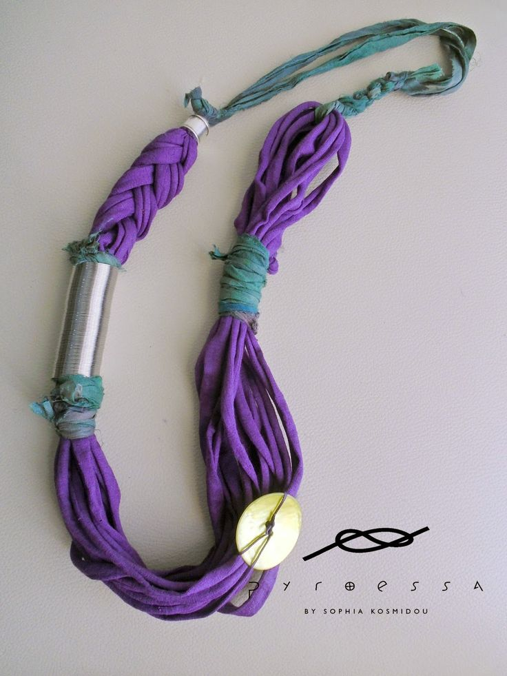"Pyroessa Handmade: ""Floral"" new spring collection ""Violet"" Fabric neckalce in purple & green"
