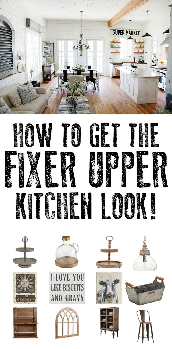 How to get the fixer upper kitchen look! Great inspiration and some cool items that I NEED IN MY LIFE!