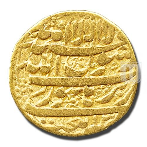 Mohur  | Mintage World|    Description: Sahib Qiran Shihab Al Din Muhammad Shah Jahan Badshah Gazi within dotted borders Dynasty: Mughal | Authority: Shihabuddin Muhammad Shah Jahan | Denomination: Mohur | Metal: Gold | Weight (gm): 10.8-11 | Shape: Round | Calendar System: Anno Hijri (AH) | Issued Year: 1038 | Minting Technique: Die struck | Rarity: XR (Extremely Rare) | Mint: Burhanpur | RY (Regnal Year): 2 | Theme: Persian Legend |