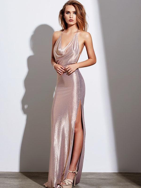 9758ce9833914 Backless Sequined Split-side Evening Dress
