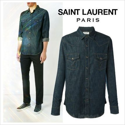 ●ラスト1点●2017●Saint Laurent デニムウエスタンシャツサンローラン 2017 ファッション