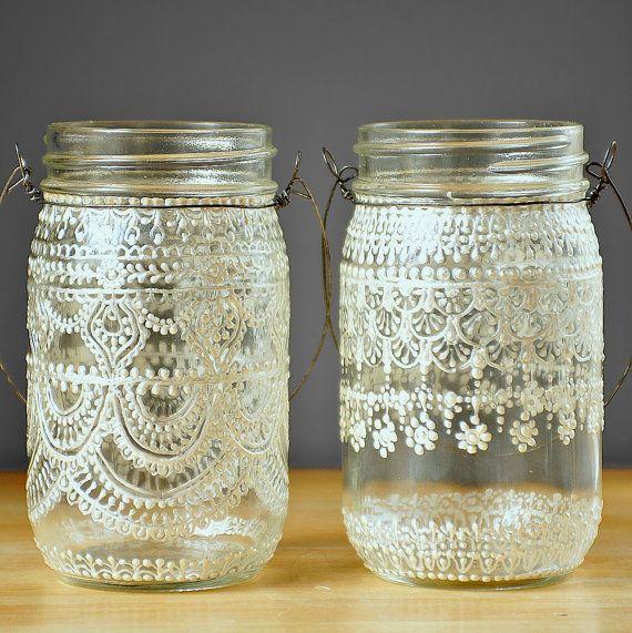 Hand Painted Einmachglas marokkanische Laterne, Vintage Lace inspirierte Design in White Pearl - LITdecor produziert auf Crystal Clear Glas