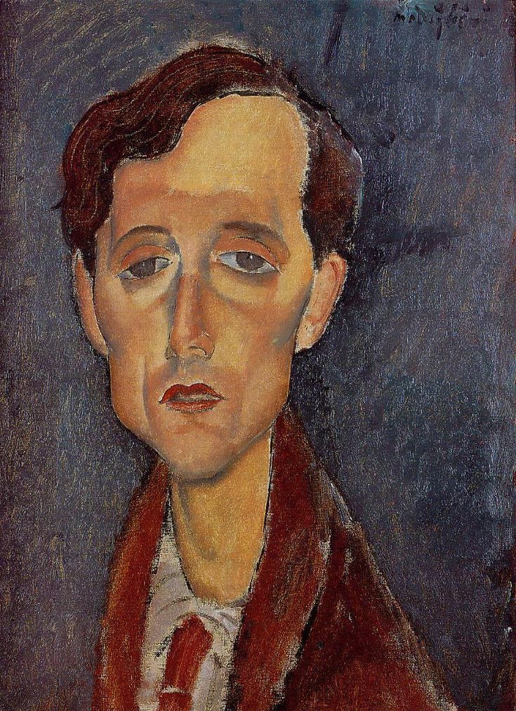 Frans Hellens, 1919  Amedeo Modigliani. A wonderful, lugubrious portrait of Modigliani that I have never seen before.