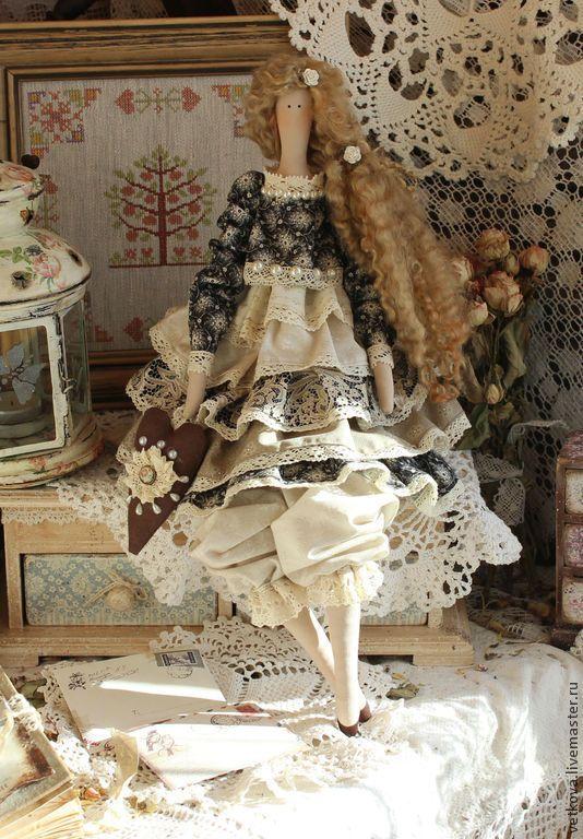 Джоелл текстильная коллекционная интерьерная кукла тильда ангел - бежевый