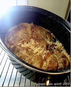Μπριζόλες με ρύζι στην γάστρα