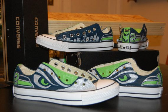 Seahawk Blast Hand painted converse by SoleyCustomDesigns on Etsy