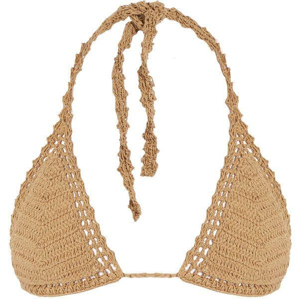 She Made Me Essential Sliding crochet triangle bikini top ($88) ❤ liked on Polyvore featuring swimwear, bikinis, bikini tops, brown bikini, triangle bikini, brown bikini top, strappy bikini and swimsuit tops