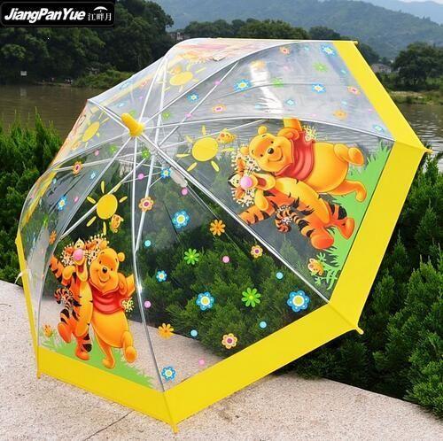 [Visit to Buy] 2017 Winnie the Pooh Umbrella Children Clear Carton Kid Parapluie Bubble Fancy Baby Child Rain Paraguas Transparente #Advertisement