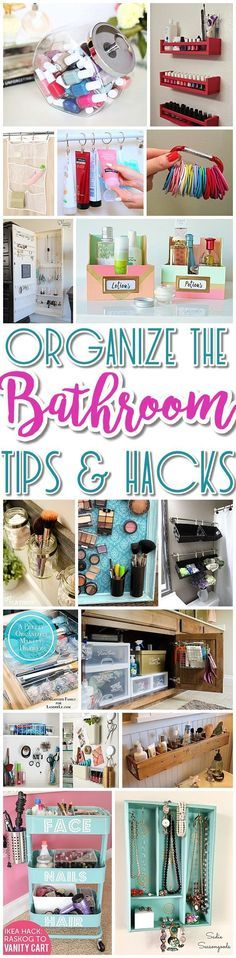 EASY Inexpensive Do it Yourself Ways to Organize and Decorate your Bathroom and Vanity -The BEST DIY Space Saving Projects and Organizing Ideas on a Budget