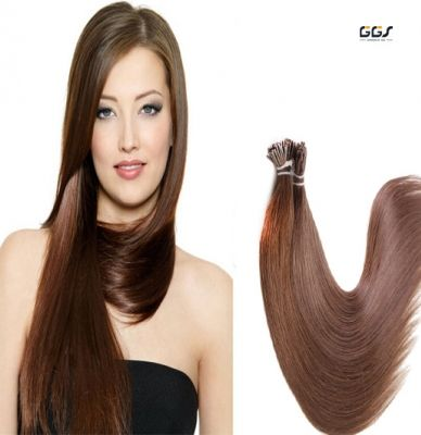 Micro Ring Hair Extensions #6 Chestnut Brown Straight Wave Brazilian Hair Unprocessed Virgin Remy Nano Loop Hair Weaves 5A 100g