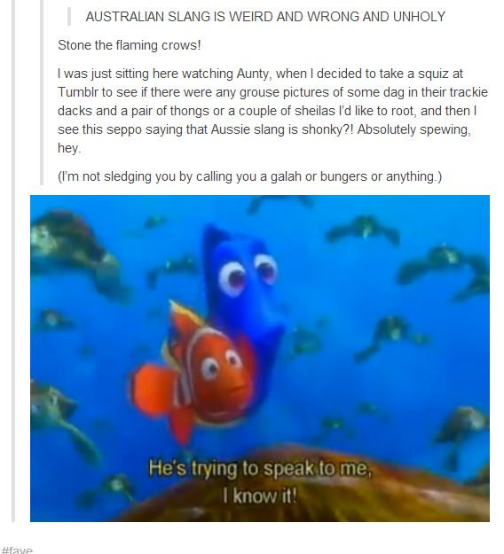 I chose this because Finding Nemo is one of my favorite books, and it shows that language barrier very well.