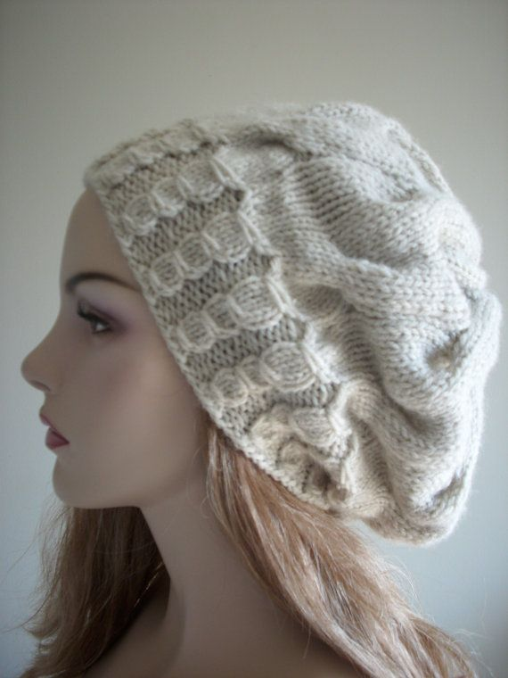 Hand Knit Slouchy Hats Oversize Berets Baggy Beanie by Lacywork