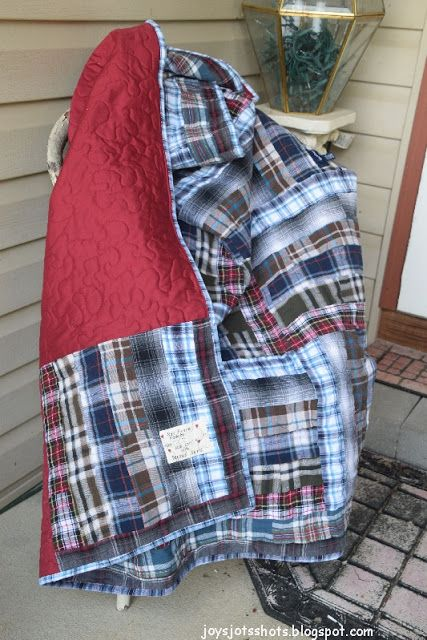 Memory Quilt made from flannel shirts, using a Six Strip Rail Fence block -  tutorial - Joy's Jots, Shots & Whatnots