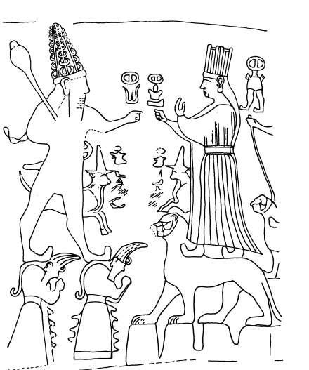 Relieve del encuentro de Teshub y  Khebat en Yazilkaya (S.XIII a.C.) Hay 2 cortejos inscritos en cada muros de la cámara. En el fondo aparecían las figuras de los dioses tutelares del panteón hitita: Teshub dios del Tiempo, Khebat diosa solar del Estado, a gran escala. La diosa Khebat se representa sobre un pedestal en forma de león y sobre montañas. Teshub tb aparece sobre dioses montaña, barbado y atributos de poder, la tiara de cuernos y la maza, parece los relieves de las puertas de…