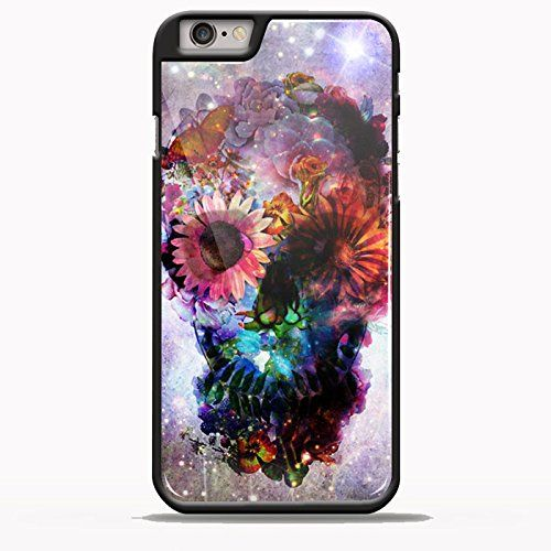 Sugar Skull Floral Nebula Design for Samsung Galaxy and Iphone Case (iPhone 6 plus black)