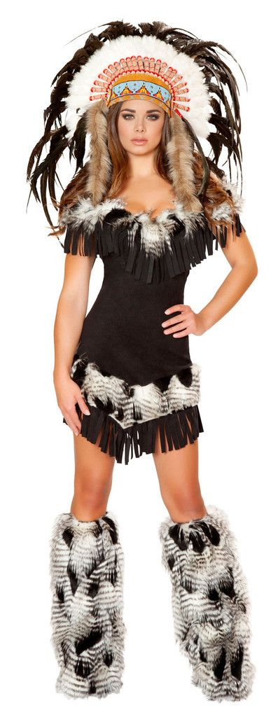Cherokee Princess Adult Costume Costume includes an off the shoulder dress with fringe and fur detail. Does not include headpiece, or fur leg warmers. Weight (lbs) 0.92 Length (inches) 15.25 Width (in