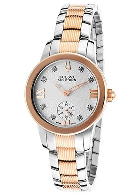 Accutron by Bulova Women's Masella Two-Tone Steel Silver-Tone Dial Diamond AccentsAccutron by Bulova 65P101 Watch