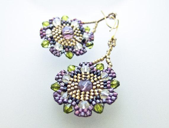Beaded purple earrings by Jeannie Richard