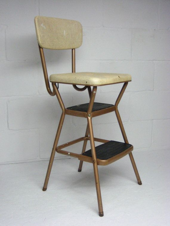 Reserved Vintage Kitchen Step Stool, Cosco Kitchen Stool With Fold Up Seat,  Mid Century Step Stool