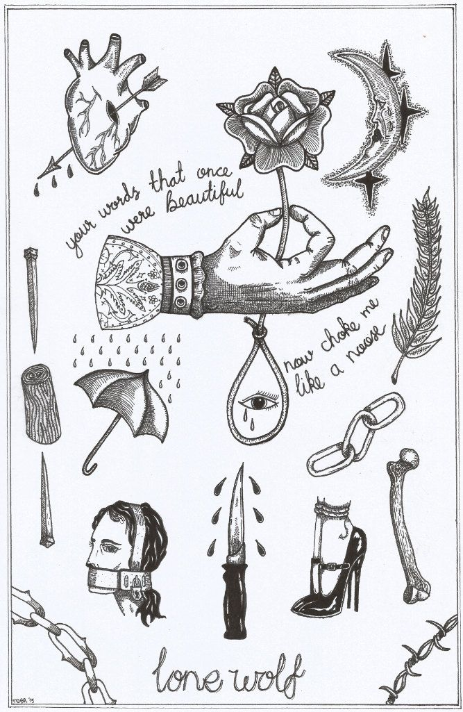 A4 'your words choke me like a noose' tattoo flash sheet. by TristanRitterArt on Etsy